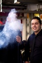 Man obscured by smoke from a shesha