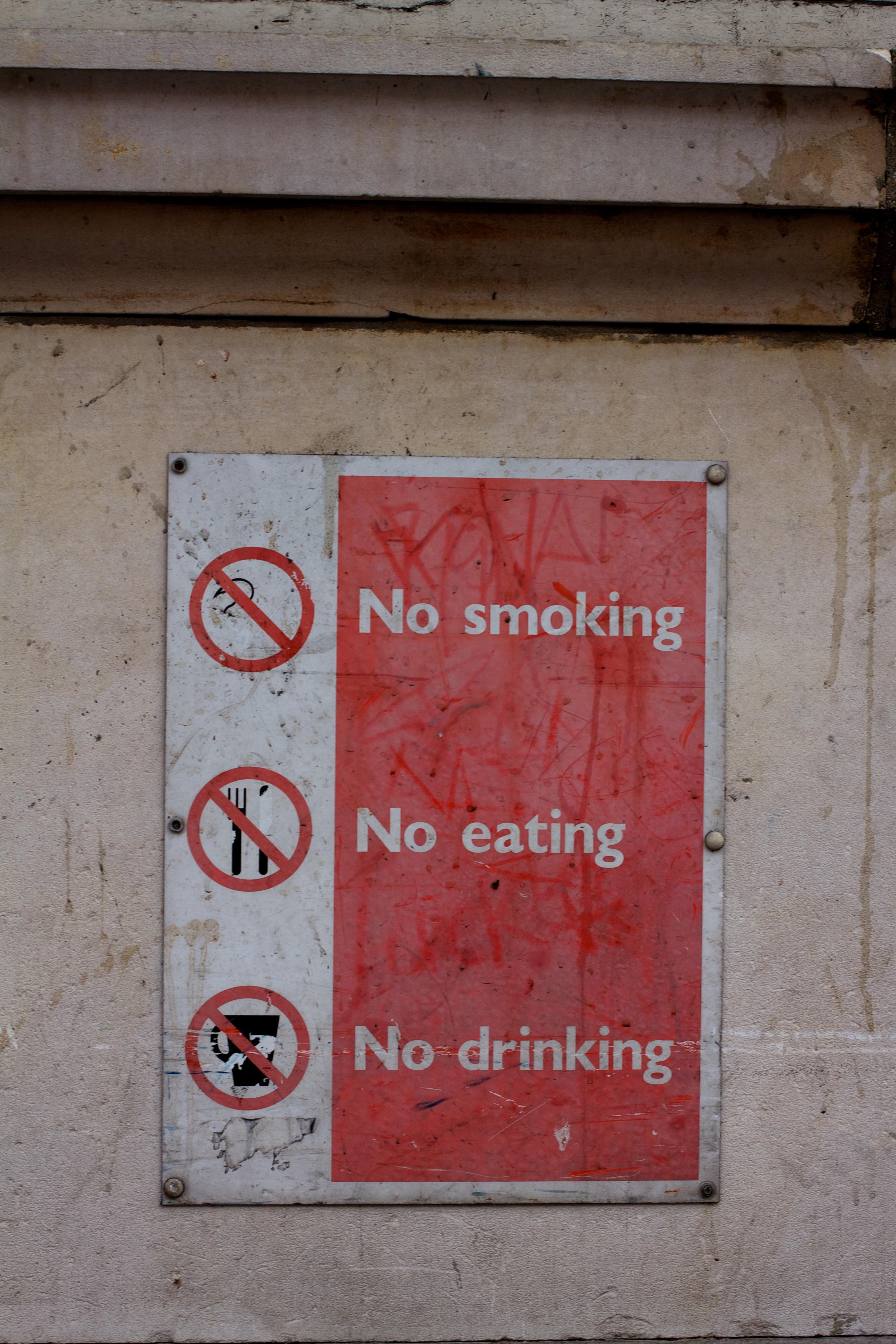 No smoking, no eating, no drinking sign