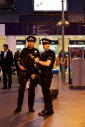 Two British Transport Policy armed with guns at Waterloo Station
