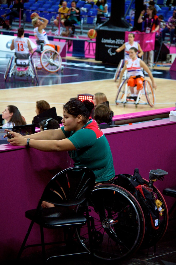 Mexican player photographs wheelchair basketball at North Greenwich Arena