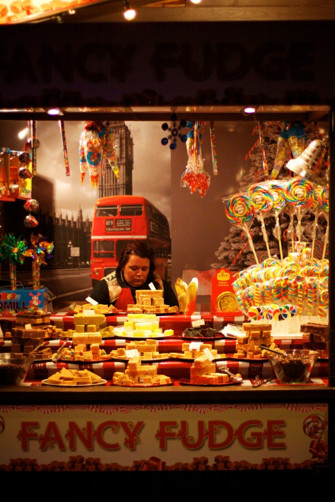 Fudge stall at South Bank Christmas Market, London