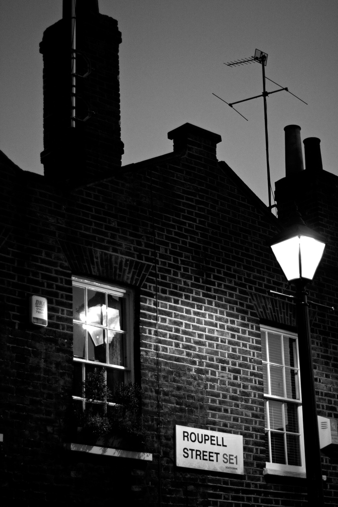 Victorian houses and lamp post on Roupell Street behind Waterloo East Station