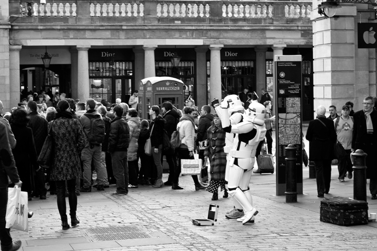 Two men dressed as Star Wars Storm Troopers in Covent Garden, London