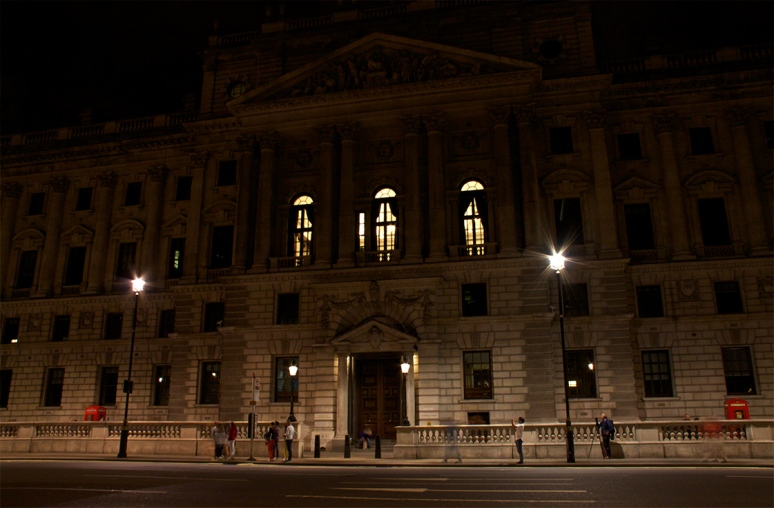 The Treasury with one central light blazing to mark the 100th anniversary of WW1