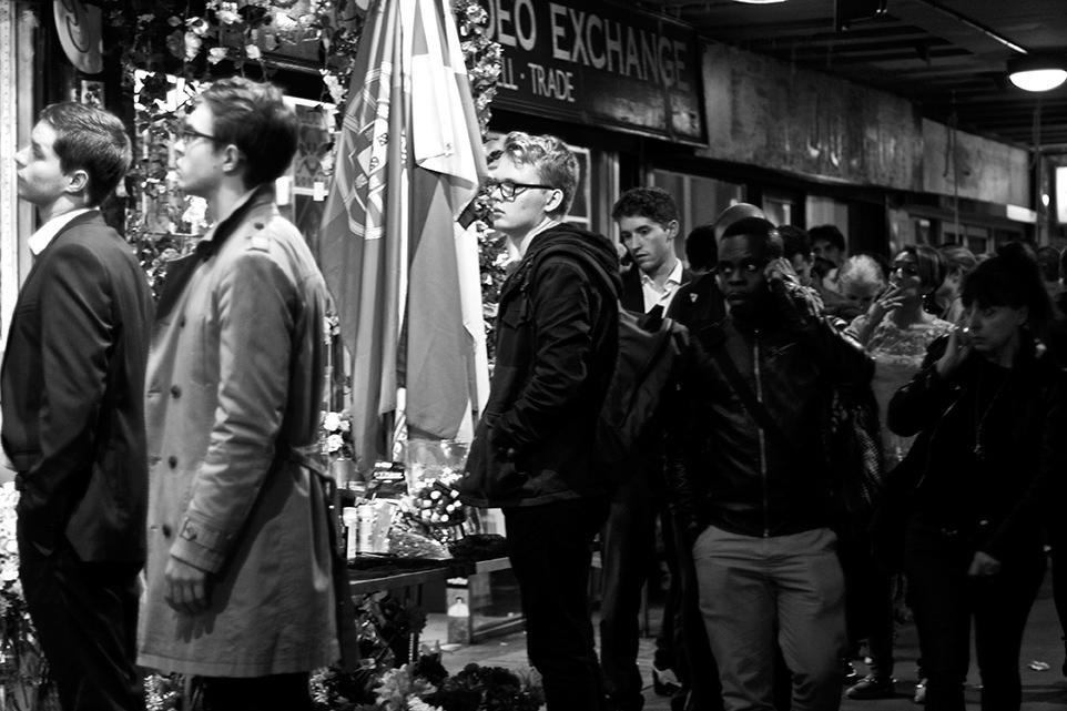 Queue for Hallowe'en costumes outside a shop on Berwick Street, Soho