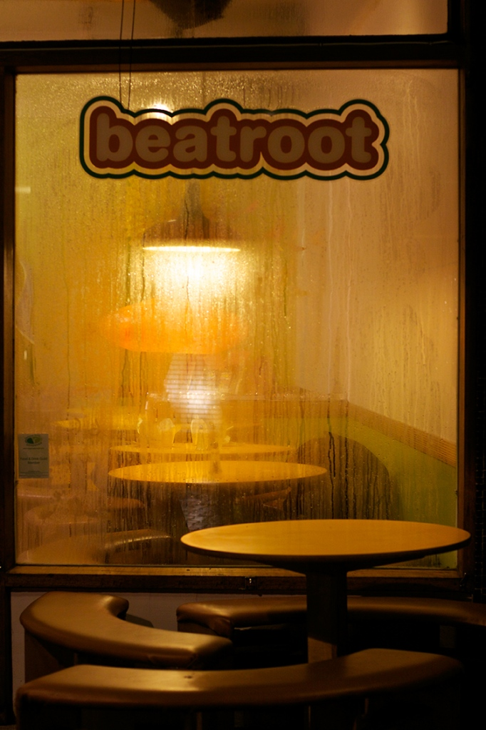Looking through a steamed up window of Beatroot cafe, Berwick Street, Soho, London