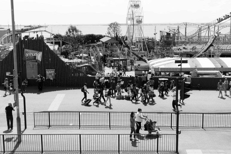 Southend seafront with adventure fun fair