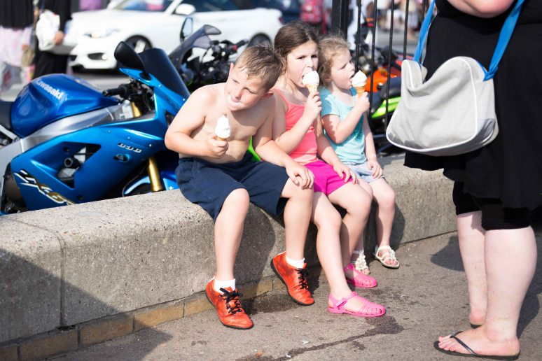 Three children eating ice creams in Southend