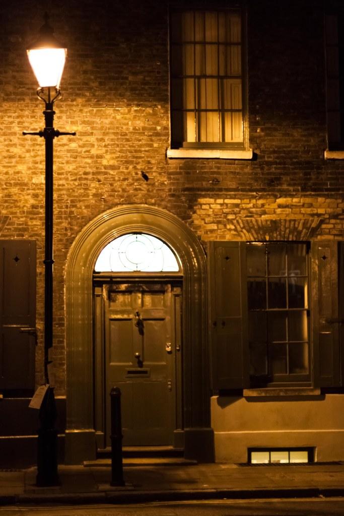 Street lamp outside a house in Spitalfields, London