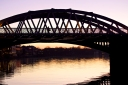 Barnes Bridge at sunset, River Thames, London