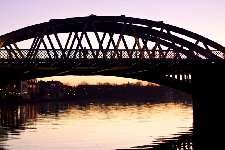 Barnes Bridge at sunset, River Thames, London