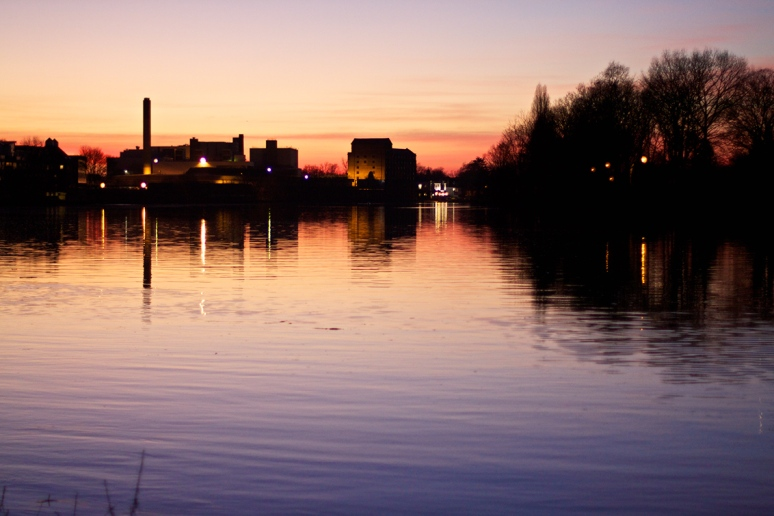 Sunset over the River Thames, at Mortlake, London