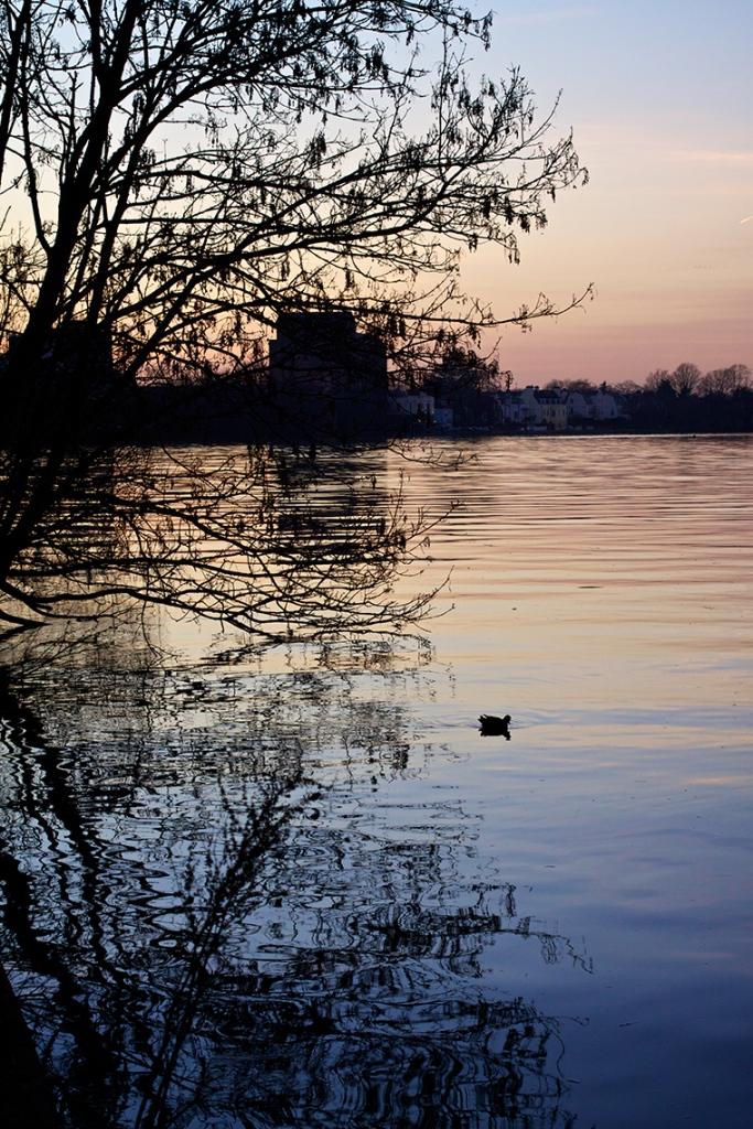Sunset over the River Thames, at Mortlake, London